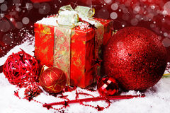 Christmas present and accessories Royalty Free Stock Images