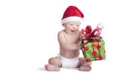 Christmas Present Baby Stock Image