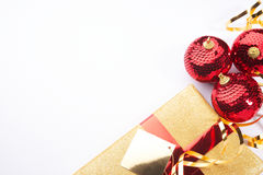 Christmas present background gold and red. Christmas background present beautiful gold red setting with white space for copy royalty free stock images