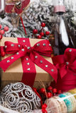 Christmas present in basket with  pastry, wine, decor Stock Photography
