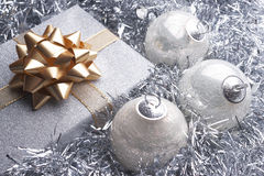 Christmas present and beautiful christmas setting stock images