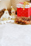 Christmas present on bed Royalty Free Stock Photos