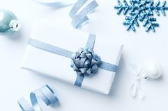 Christmas decorations on white background. Flatlay. Copy space royalty free stock photography