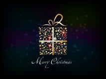 Christmas present box. Made from shining stars - illustration Stock Photo