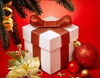 Christmas present in box Stock Photos