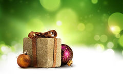 Christmas present box background Stock Images