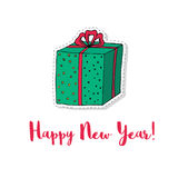 Christmas present box cartoon vector illustration. Sticker for New Year or other holiday design. Stock Image