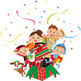 Christmas present box family Royalty Free Stock Photography
