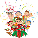 Christmas present box family Stock Image