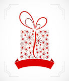 Christmas present box made from snowflakes. (vector Stock Images