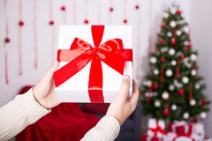 Christmas present box in male hands Stock Photos