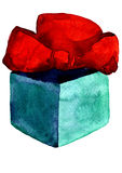 Christmas present box with red bow Royalty Free Stock Photo