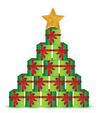 Christmas present box tree illustration Stock Images