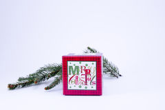 Christmas present box on white. Red present box and a fir branch on white Stock Photo