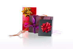 Christmas present boxes. Over white background Royalty Free Stock Images