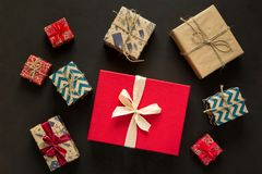 Christmas present boxes background stock photo