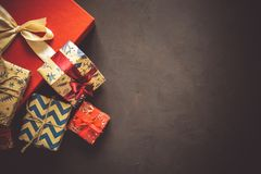 Christmas present boxes background. Top view. Flat lay. Toned image royalty free stock photo
