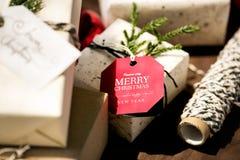 Christmas present boxes close up Stock Photos