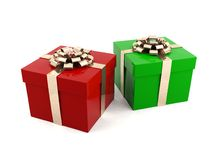 Christmas present boxes. Christmas red and green present boxes Stock Photography