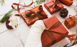 Christmas present boxes on white wood background Stock Photo