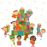 Christmas present and children Royalty Free Stock Image