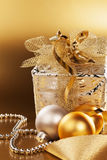 Christmas present with christmas balls Royalty Free Stock Photography