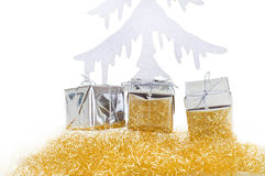Christmas present with christmas tree Stock Images