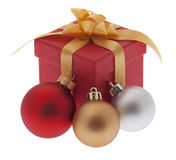 Christmas present with Christmas tree ball Royalty Free Stock Photos