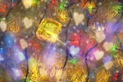 Christmas present and color Garland Royalty Free Stock Photos