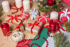 Christmas present on craft paper Royalty Free Stock Photography
