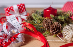 Christmas present on craft paper Royalty Free Stock Images