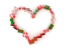 Christmas present creating a heart Royalty Free Stock Photography
