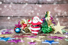 Christmas present on dark wooden background in vintage style Stock Images