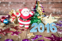 Christmas present on dark wooden background in vintage style Royalty Free Stock Photo