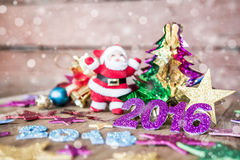 Christmas present on dark wooden background in vintage style Royalty Free Stock Photography