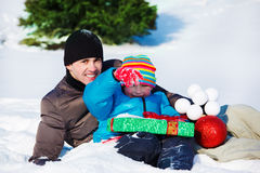Christmas present and decoration Royalty Free Stock Photo