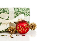 Christmas present and decoration with copy space Stock Photography