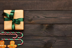 Christmas present and decoration on wooden background Stock Images