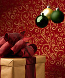 Christmas present with decorative xmas bubbles stock photography
