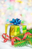 Christmas present with fir branch Stock Image