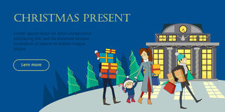 Christmas Present Flat Style Vector Web Banner Royalty Free Stock Images