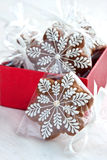 Christmas present in gift box, gingerbread cookies Stock Photo