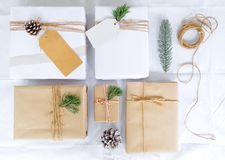 Christmas present gift boxes collection with tag for mock up template design. View from above. Creative Flat layout and top view composition with border and royalty free stock image