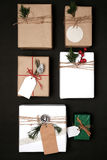 Christmas present gift boxes collection with tag for mock up template design Stock Image