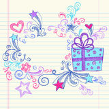 Christmas Present Gift Hand-Drawn Sketchy Doodles Stock Images