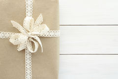Christmas gift or present in rustic style royalty free stock photos