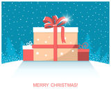 Christmas present gifts on winter snow landscape Royalty Free Stock Photos