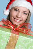 Christmas Present Girl Stock Image