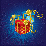 Christmas present with gold bow and stars Stock Photo