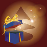 Christmas Present with Golden Ribbon Stock Photo